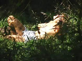 Woman Caught on Camera Masturbating Outdoors