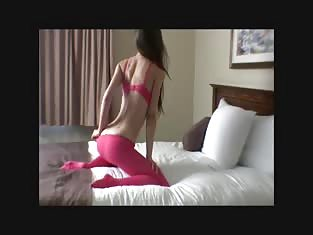 Sexy Girl in Red Gives a Nice Strip Tease