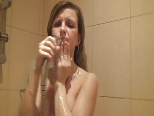 Skinny Blonde Taking a Hot Shower