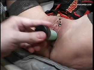 Gagged Redhead Gets Her Pussy Toyed Hardcore Style