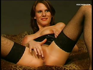 Girl Only Wearing Stockings Masturbates