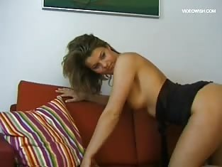 Sexy Brunette on the Phone and Then Masturbates