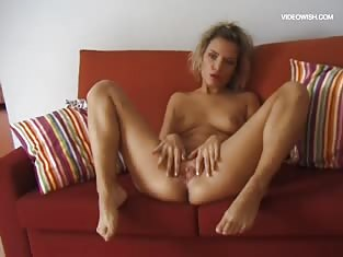Short Haired Blonde Spreads Her Legs