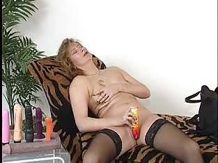 Slut in Stockings Rubs Her Pink Pussy