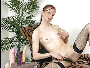 Pale Redhead in Stockings Masturbates For Us to Watch