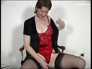 Lady in Red Lingerie Fucks Her Wet Pussy