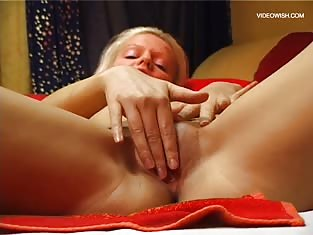 Blonde Licks Her Fingers and Rubs Her Pussy
