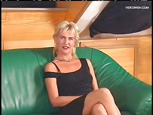 Girl Masturbates on a Green Couch