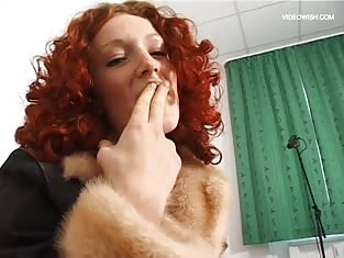 Curly Haired Redhead Smells Her Juicy Fingers