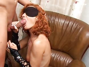 Redhead With a Blindfold Gets Her Pussy Stetched