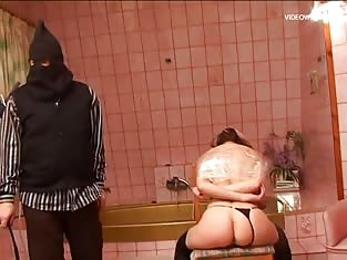 Girl Bound and Spanked By a Masked Man