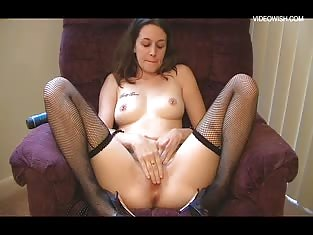 Gothic Girl in Fishnets Playing With Herself