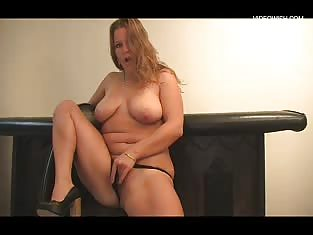 Chubby Blonde Smokes and Masturbates
