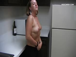 Chubby Girl With Tramp Stamp Fingering in the Kitchen