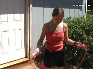 Kitty Has Some Fun Outdoors Jump Roping