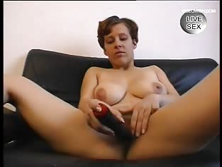 Busty Brunette Loves To Toy