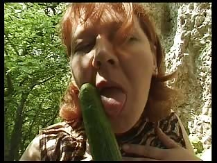 Mature BBW Fucks Herself Outdoors